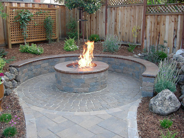 patio with fire pit for chilly nights or a table top set over fire pit